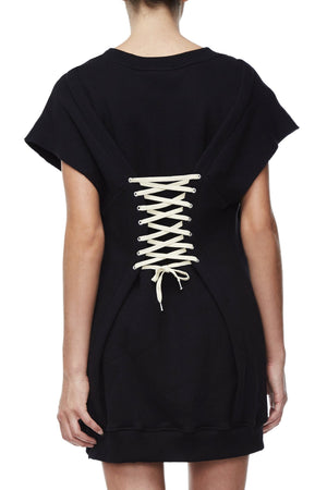 THE LACE UP SWEAT DRESS | BLACK001
