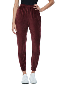 THE TWISTED SEAM VELOUR PANT | BURGUNDY001