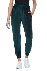 THE TWISTED SEAM VELOUR PANT | EMERALD001
