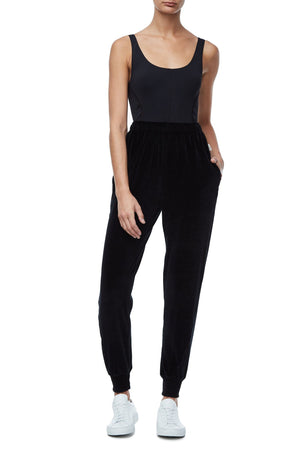 THE TWISTED SEAM VELOUR PANT | BLACK001