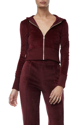 THE VELOUR ZIP-UP | BURGUNDY001