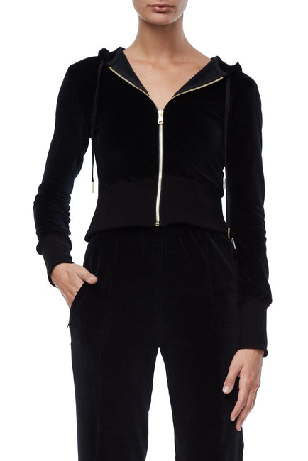 Good American The Velour Zip-Up | Black001