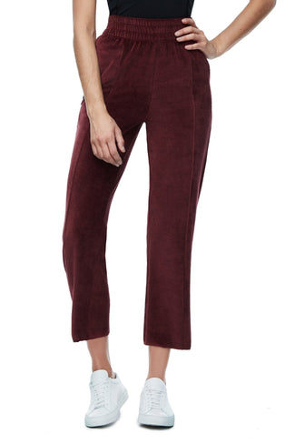 THE HIGH WAISTED VELOUR PANT | BURGUNDY001