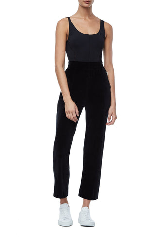 THE HIGH WAISTED VELOUR PANT | BLACK001