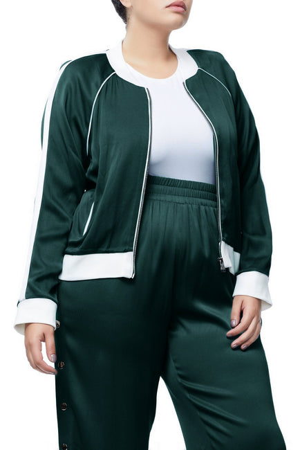 Good American The Satin Bomber | Emerald001