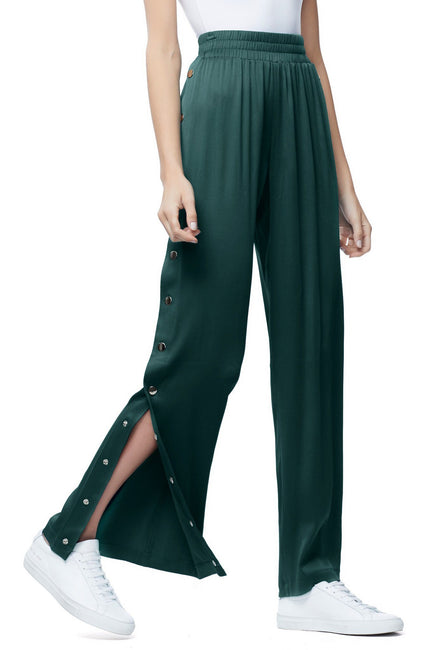 Good American The Satin Snap Pant | Emerald001