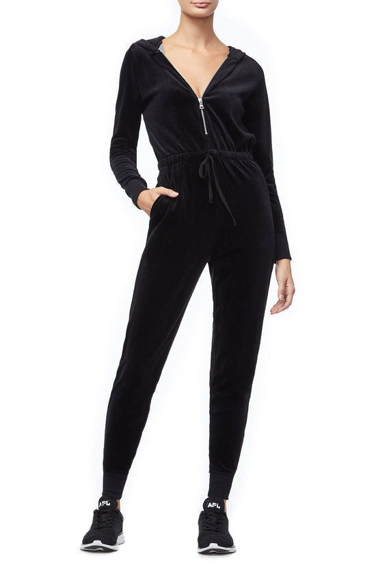 THE VELOUR HOODED JUMPSUIT | BLACK001