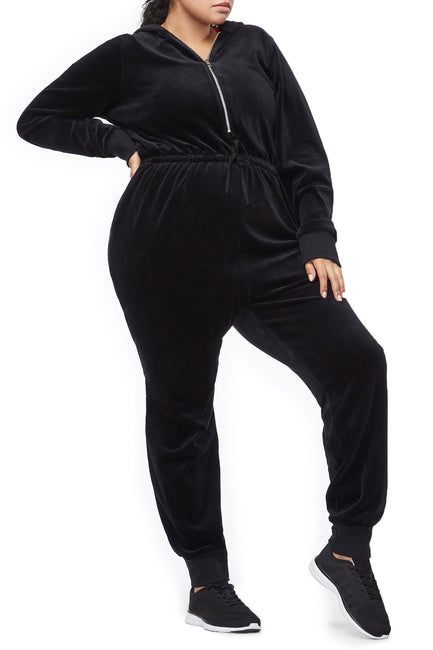 Good American The Velour Hooded Jumpsuit | Black001