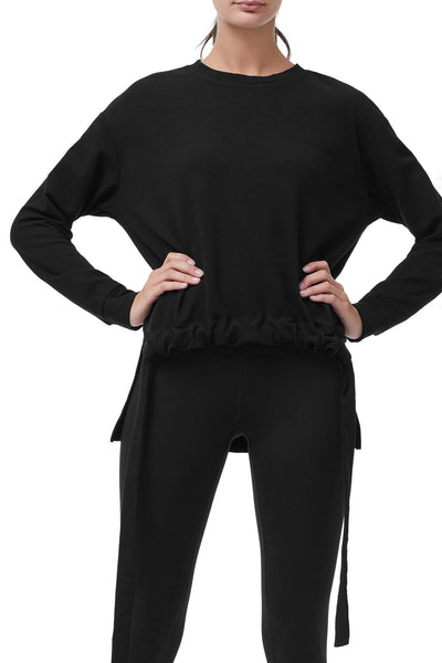 THE ROUCHED WAIST PULLOVER | BLACK001