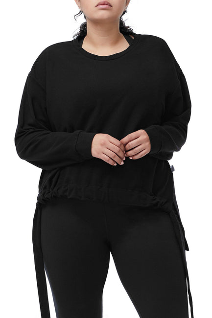 Good American The Rouched Waist Pullover | Black001