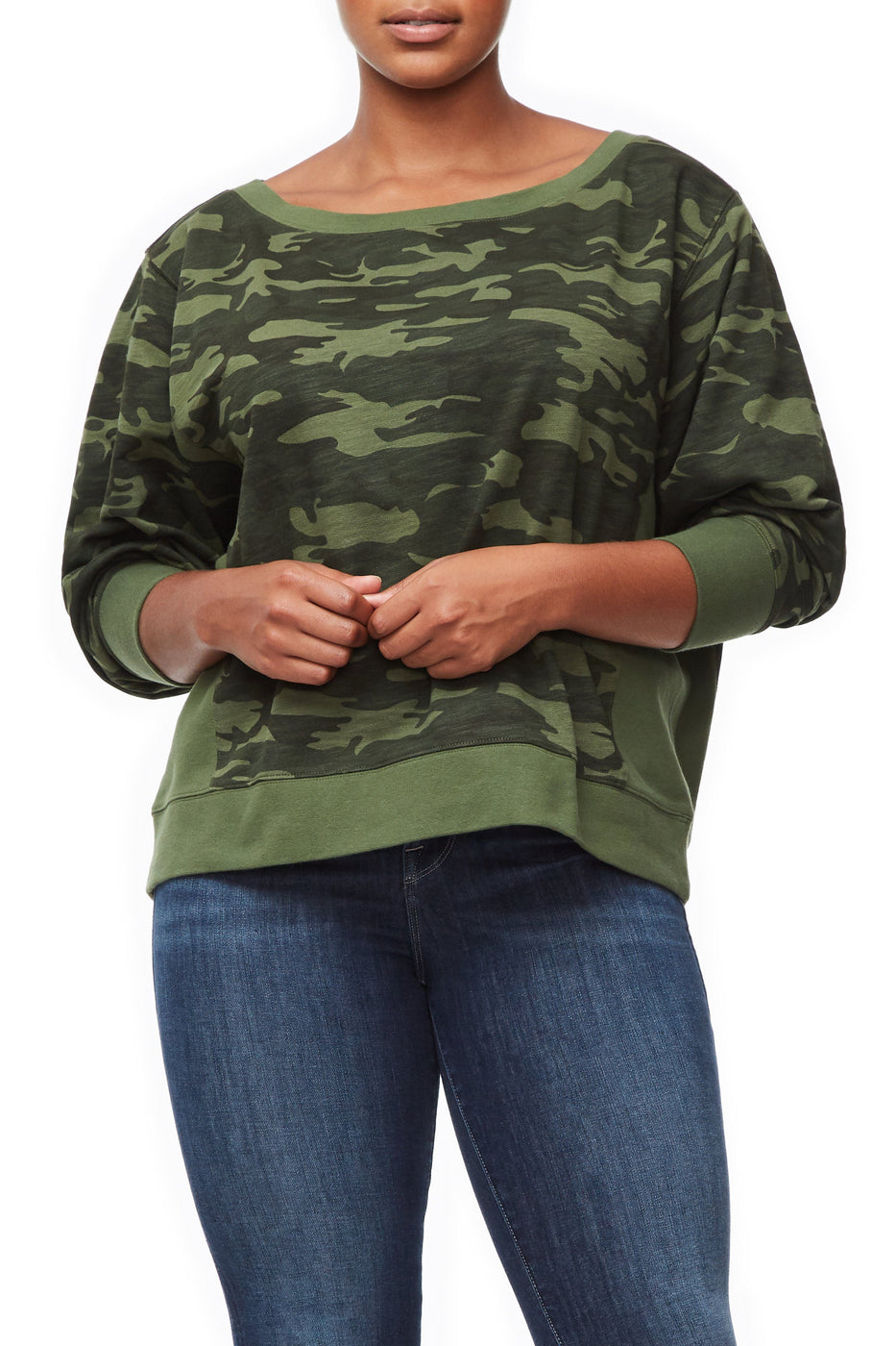 Good American The Off Shoulder Sweatshirt | Camo001