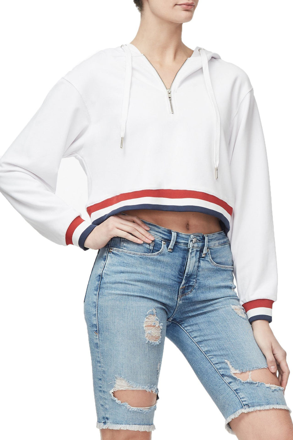 THE AMERICANA CROPPED HOODIE | WHITE001