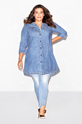 THE RELEASED HEM SHIRT DRESS | BLUE127