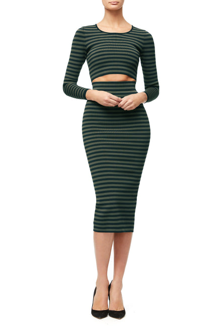 THE LINE UP MIDI SKIRT | STRIPE002