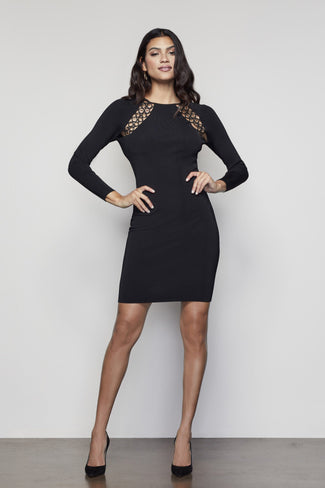 PEEPIN LONG SLEEVE DRESS | BLACK001