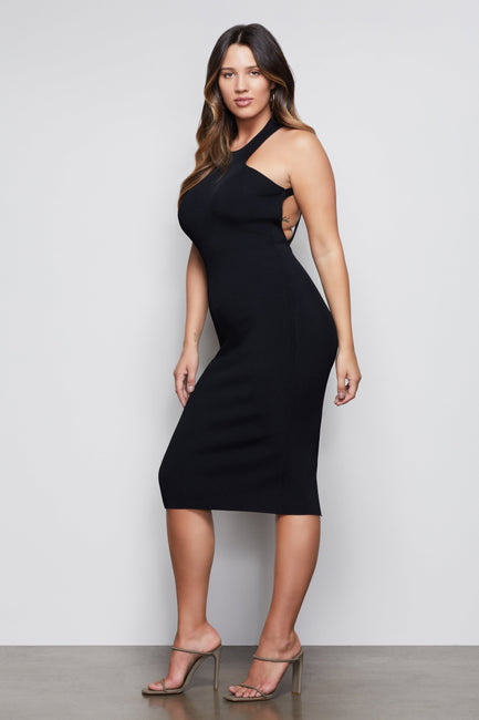 FIRST CLASS MIDI BODY DRESS | BLACK001