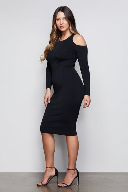 NIGHTFALL COLD SHOULDER BODY DRESS | BLACK001