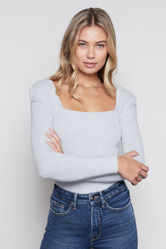 THE SQUARE NECK TOP | HEATHER GREY001