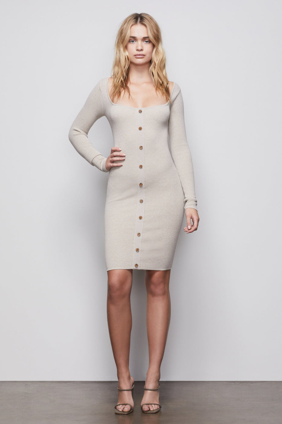 THE BUTTON UP SWEATER DRESS | OATMEAL002