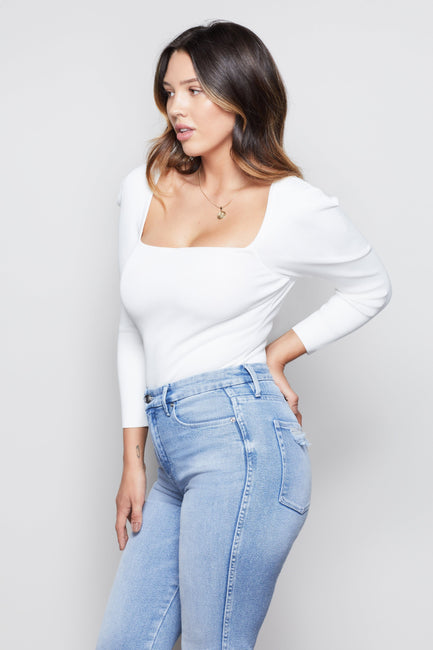 THE SQUARE NECK TOP | WHITE001