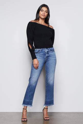 THE OFF-THE-SHOULDER SWEATER | BLACK001