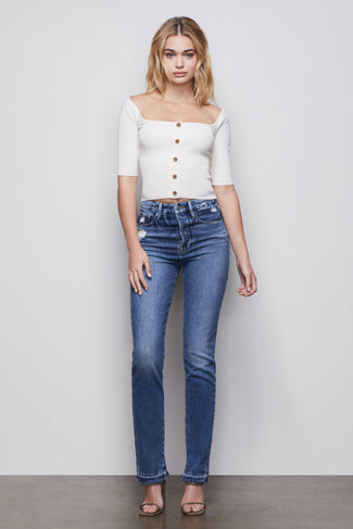THE BUTTON UP SQUARE NECK TOP | IVORY001