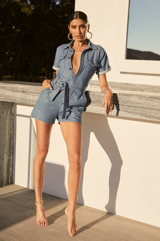 THE WAIST-TIE ROMPER | BLUE288