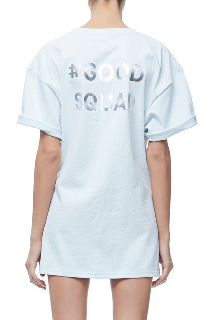 GOODIES IRIDESCENT CINCHED WAIST SQUAD TEE | POWDER BLUE001