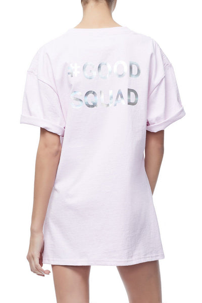 GOODIES IRIDESCENT CINCHED WAIST SQUAD TEE | PINK001