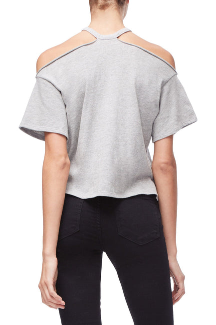 Good American The Cold Shoulder Tee | Grey001