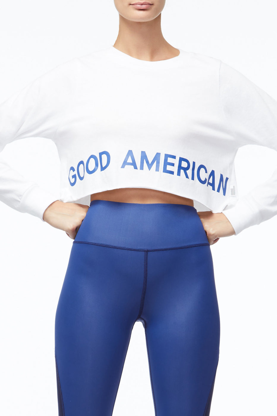 Good American The Cropped Crew | White002