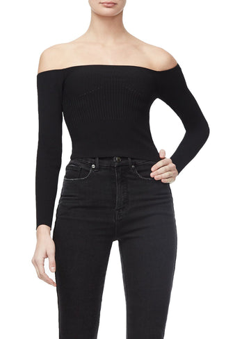 THE OFF SHOULDER KNIT TOP | BLACK001