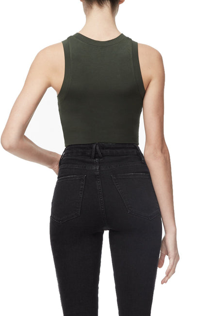 THE CROP MUSCLE TANK | OLIVE002