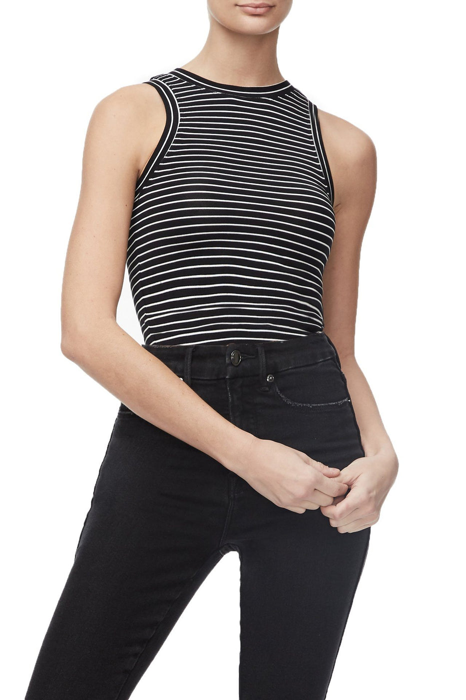 THE CROP MUSCLE TANK | STRIPE001