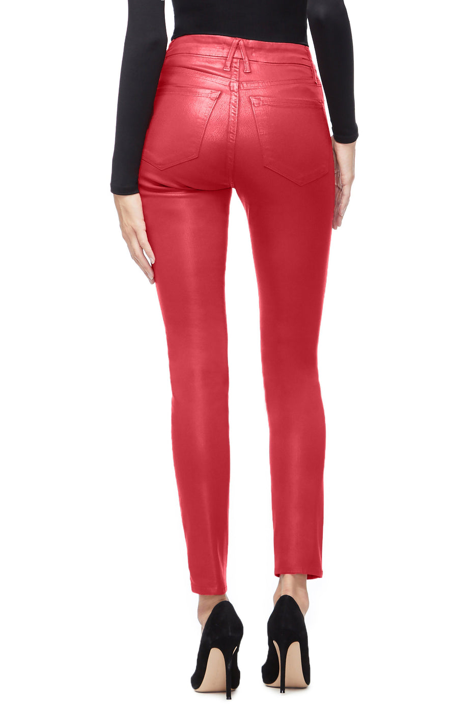 Good American Super High Waisted Waxed Red001 Jeans
