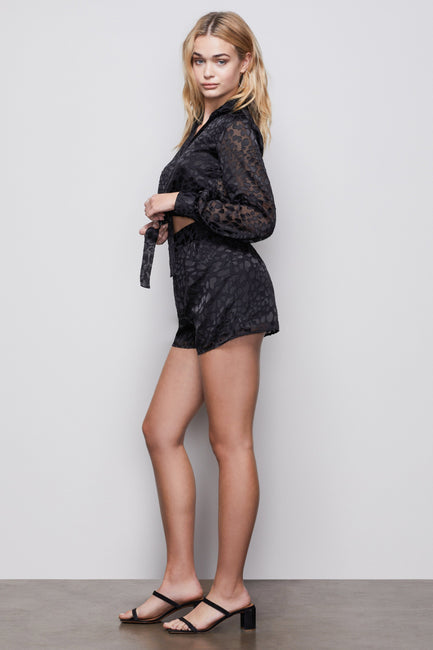 THE MIDNIGHT LEOPARD BURNOUT SHORTS | BLACK001