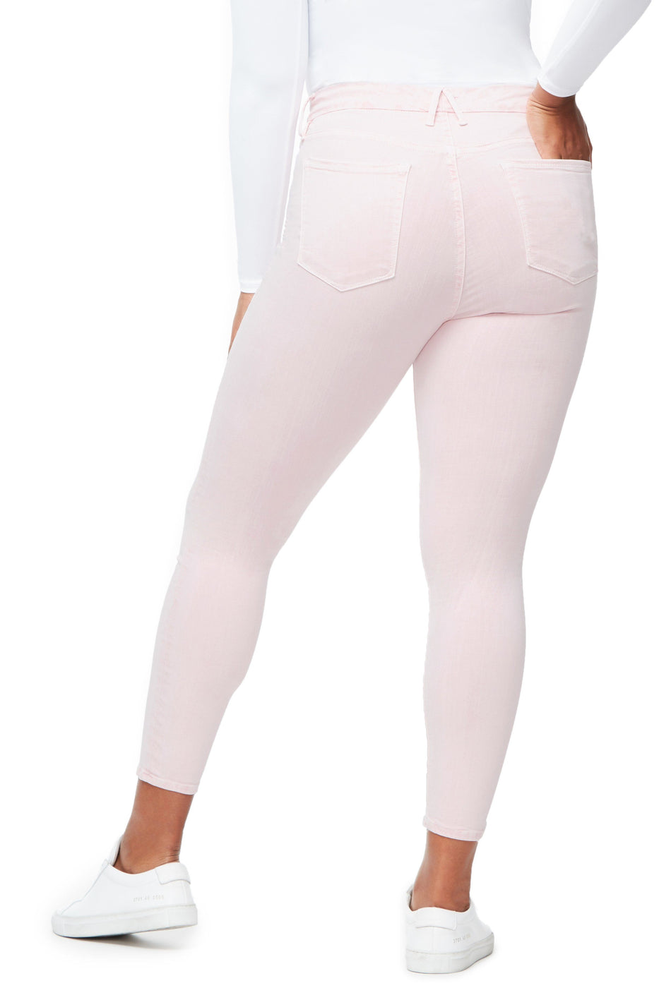 Good American Super High Waisted Crop Pink003 Jeans