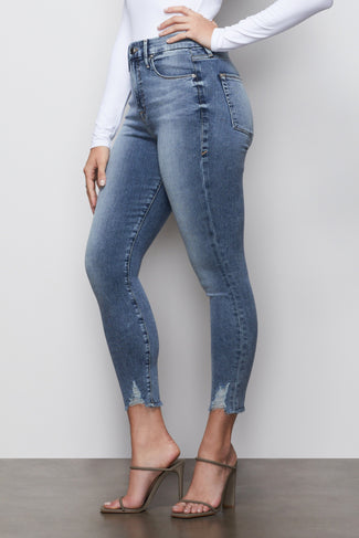 Women/'s Blue Denim Skinny Jeans Corset Waist Stretchy Elastic Gold Buttons Zip