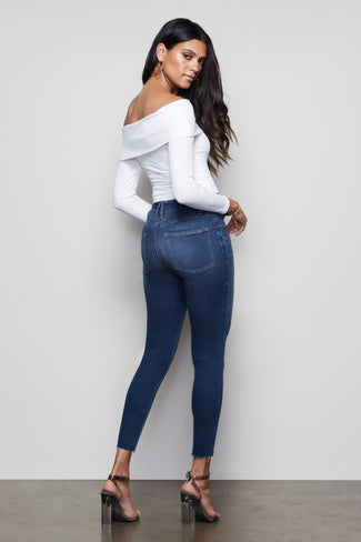 GOOD WAIST CROP RAW EDGE | BLUE331