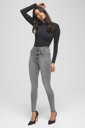 GOOD WAIST CROP RAW EDGE | BLACK128