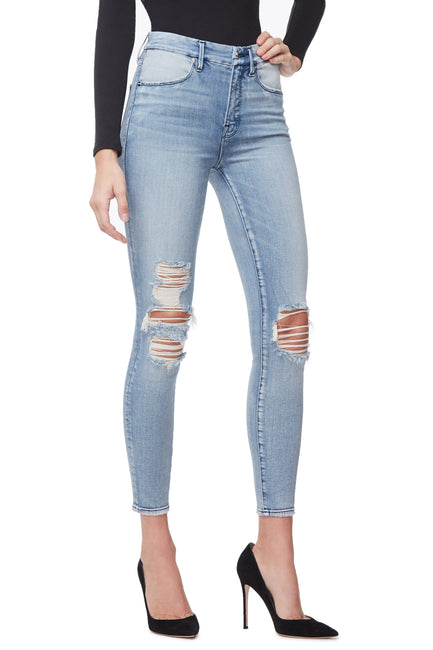 Good American Ripped Crop Blue250 Jeans