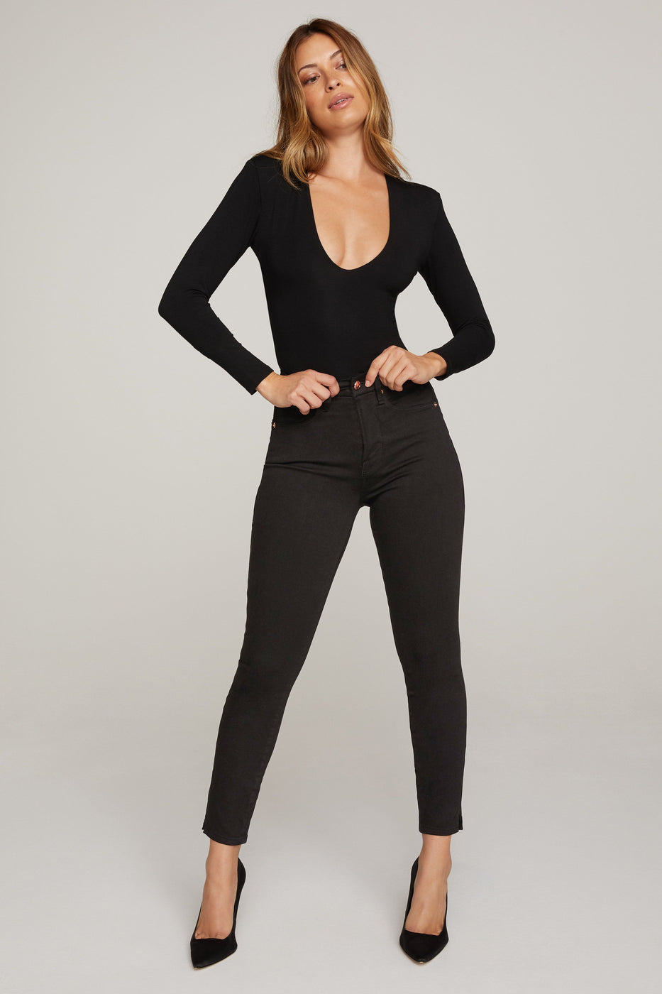 GOOD WAIST CROP SIDE SLIT | BLACK001