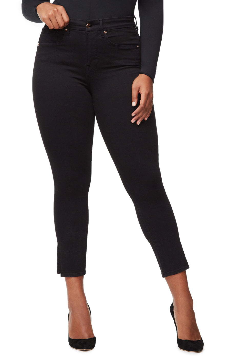 Good American Super High Waisted Crop Side Slit Black001 Jeans
