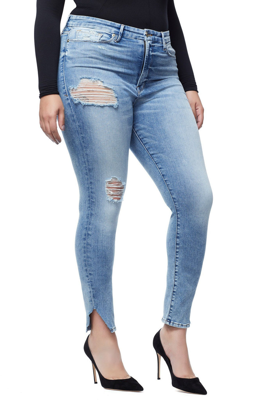Good American Ripped Crop Side Triangle Blue160 Jeans