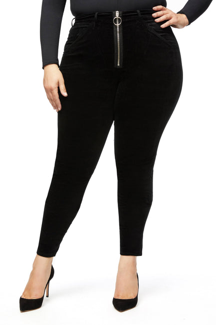 GOOD WAIST VELVET FRONT ZIP | BLACK038