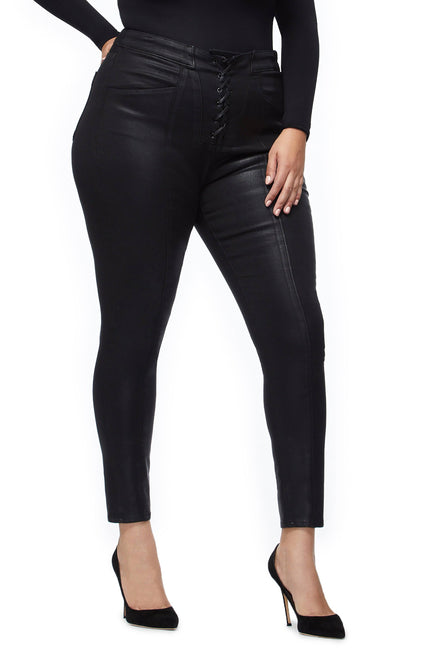 Good American Super High Waisted Waxed Lace Up Black043 Jeans