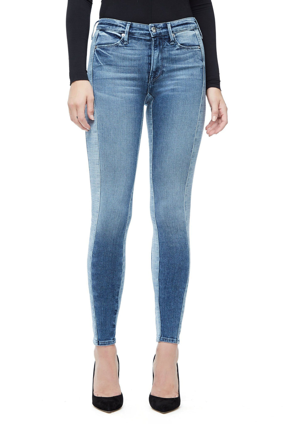 Good American Super High Waisted Crop Mix Blue128 Jeans