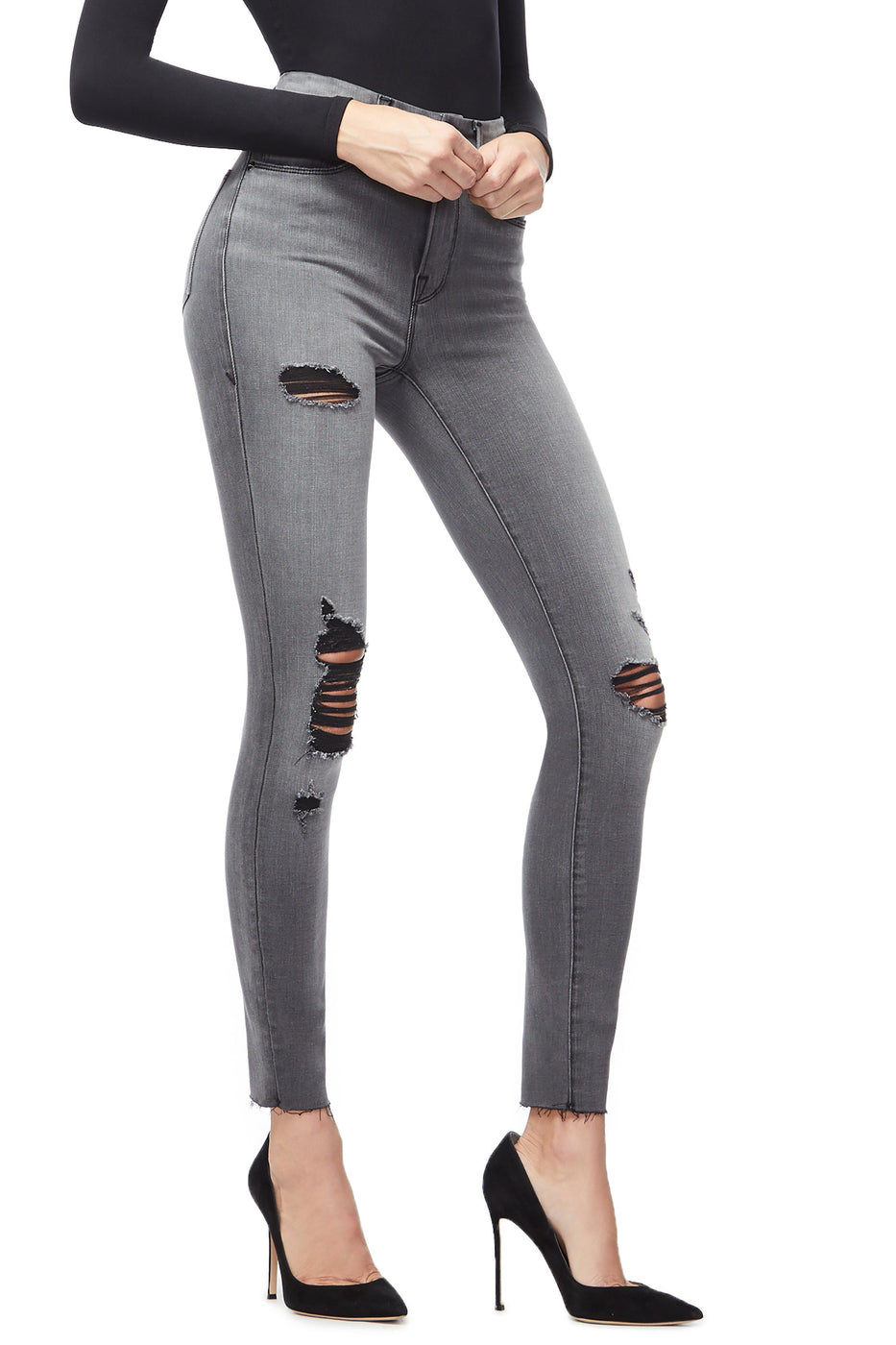 Good American Ripped Raw Edge Black044 Jeans