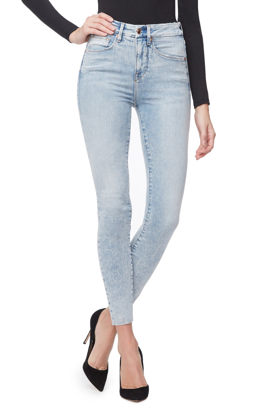 Good American Super High Waisted Raw Edge Blue232 Jeans