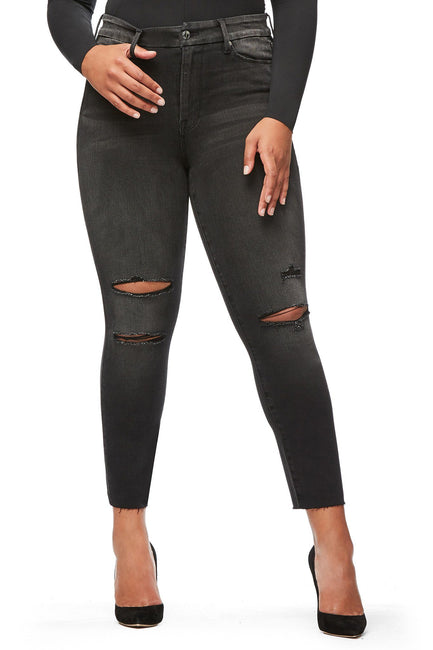 Good American Ripped Raw Edge Black034 Jeans